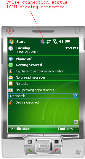 Junos Pulse Connection Status icon on the Windows Mobile client shows connected, even when user is timed out