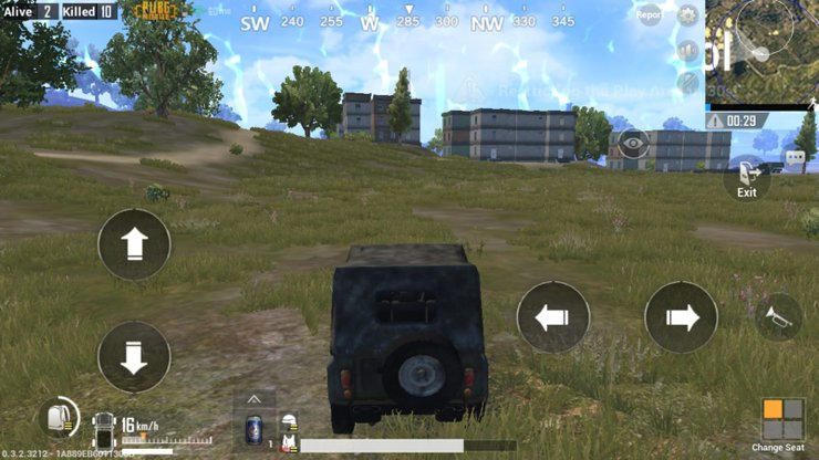 The control scheme of a vehicle in PUBG Mobile