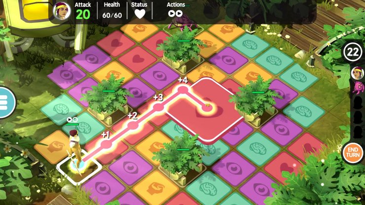 Characters can only tread on tiles of the same color each turn