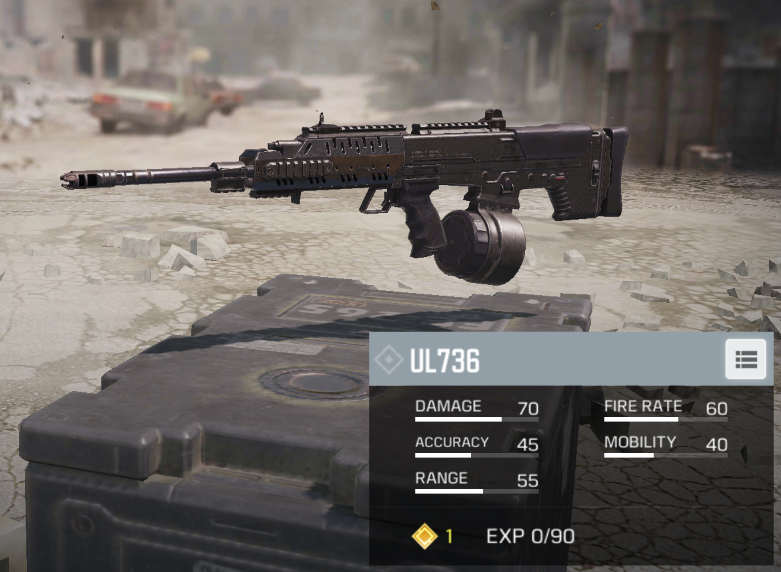 The UL736 is really the only good choice if you want to use LMGs in CoD Mobile.