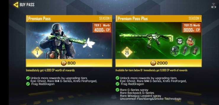 The two available tiers of the Premium Pass