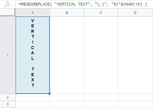 Formula 1: Text entered in formula itself