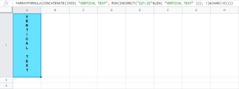 Formula 2: Text entered in formula itself