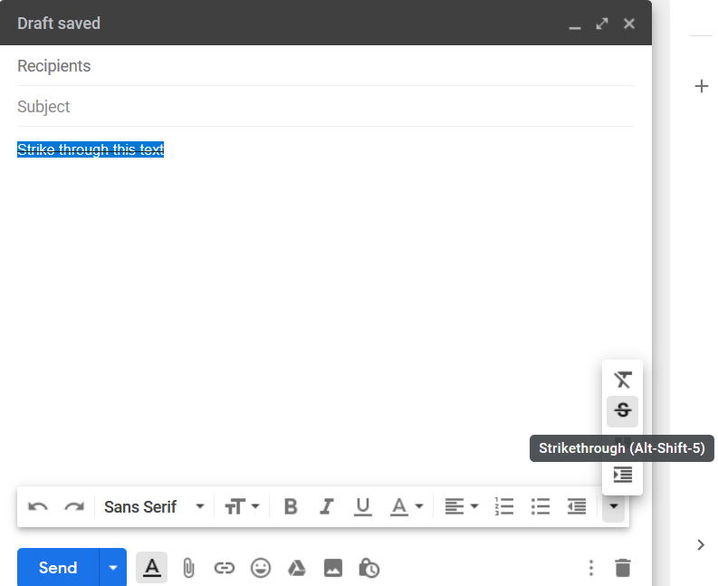 How to Strikethrough in Gmail 12