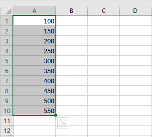The values will appear in a linear progression a shown