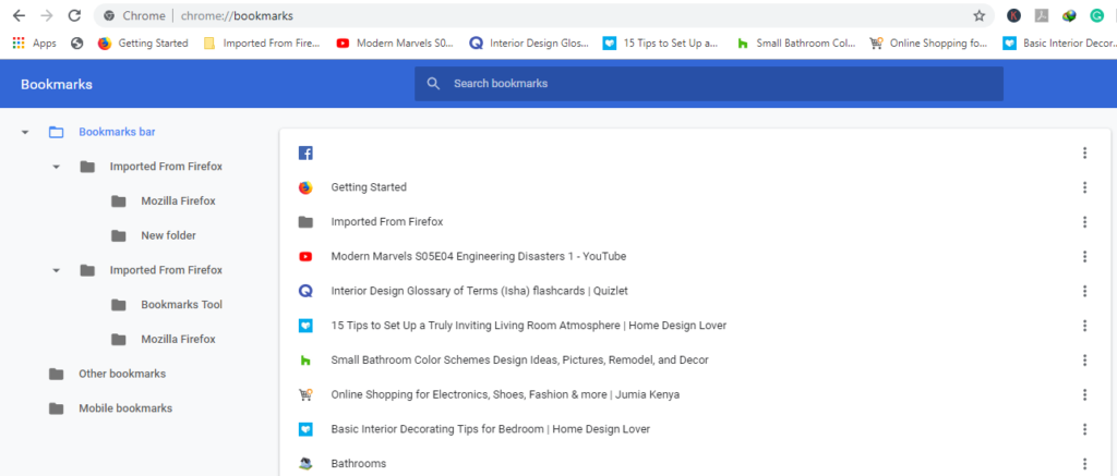Using the URL bar Search Bookmarks in Chrome