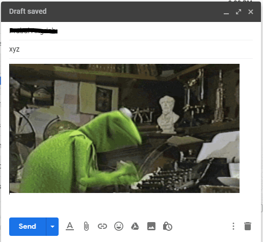 Write your email along with the attached GIF and then click 'Send.'