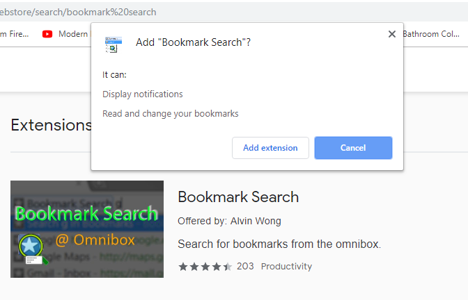 search for Bookmark Search extension then add to chrome
