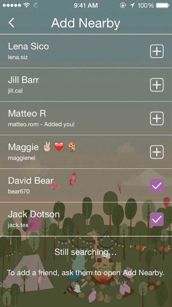 Add nearby feature to add someone on snapchat