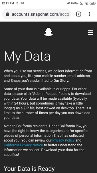 my data page