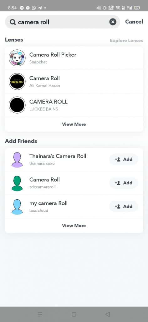 search for camera roll
