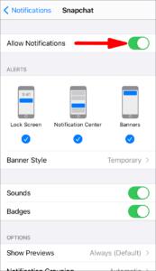 turn on notifications on snapchat via iphone settings